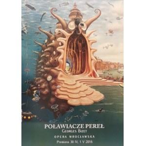 """Jacek YERKA (ur. 1952), """"Poławiacze pereł"""" - Plakat dla Opery Wrocławskiej do opery Georges'a Bizeta, 2013"""
