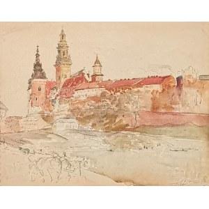 Leon WYCZÓŁKOWSKI (1852-1936), Widok na Wzgórze Wawelskie, 1921