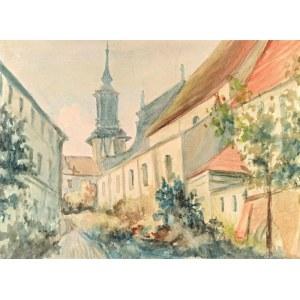 Zdzisław KRAŚNIK (1881-1964), Motyw architektoniczny z kościołem, 1963?
