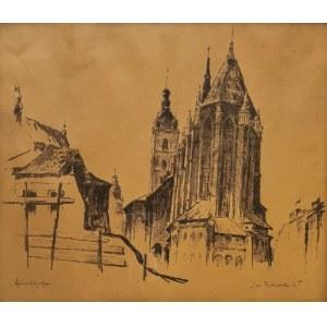 Jan RUBCZAK (1884-1942), Widok na kościół Mariacki w Krakowie, 1935