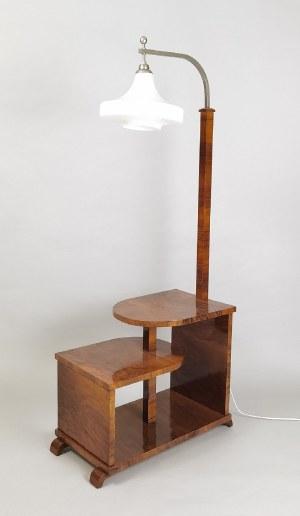 Lampa stojąca z szafką-stolikiem pomocniczym w stylu art déco