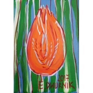 Edward Dwurnik, Mały pomarańczowy tulipan, 2016