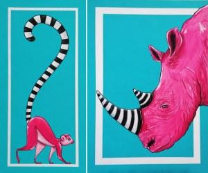 Aleksandra Lacheta, Lemur i nosorożec (dyptyk), 2021
