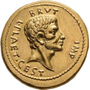 Řím, M.Iunius Brutus, 42 př.Kr., Soušek - sada dvou novoražeb ve společné etui, aureus
