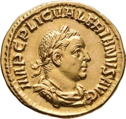 Řím, Valerianus I., 253 - 260, Aureus, Rv:APOLINI.CONSERVA., stojící Apolón,
