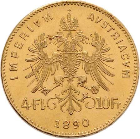 František Josef I., 1848 - 1916, 4 Zlatník 1890 (pouze 2.947 ks), 3.221g, nep.hr.,