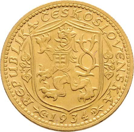 Československo, období 1918 - 1939, Dukát 1934 (raženo pouze 9.729 ks), 3.490g, nep.hr.,