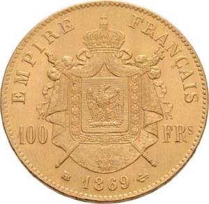 Francie, Napoleon III., 1852 - 1871, 100 Frank 1869 BB, Strasbourg, KM.802.2 (Au900, pouze