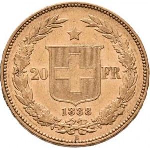 Švýcarsko, republika, 20 Frank 1888 B, Bern, KM.31.3 (Au900, pouze 4.224
