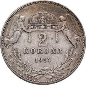 Korunová měna, údobí let 1892 - 1918, 2 Koruna 1914 KB, 9.883g, dr.hr., dr.rysky, patina R!