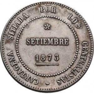 Španělsko - Cartagena - revoluční ražby, 5 Pesetas = 20 Reales 1873, KM.716 (Ag900), 25.083g,