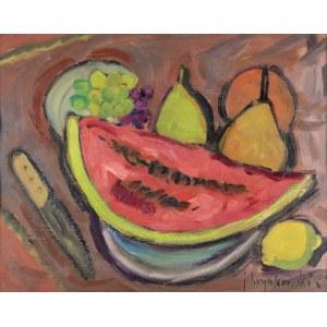 Hrynkowski Jan (1891-1971), Martwa natura z arbuzem, lata 60-te XX w.