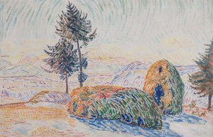 Krcha Emil (1894 - 1972), Pejzaż z kopami, lata 20. XX wieku