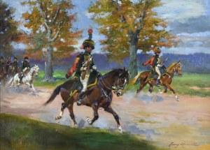 Jerzy KOSSAK (1886-1955), Huzarzy Wielkiej Armii osłaniający przejazd cesarza Napoleona