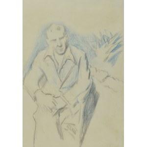 Stanisław KAMOCKI (1875-1944), Autoportret siedzący na tarasie z rośliną w tle