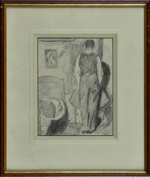 Stanisław KAMOCKI (1875-1944), Postać męska we wnętrzu, wizerunek własny? ukazany tyłem, 1937