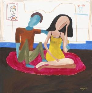 Paulina Robotycka, Kobieta i mężczyzna na amarantowym dywanie, 2021