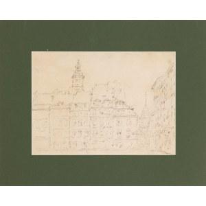 Tadeusz Cieślewski (1870-1956), Strona Zakrzewskiego Rynku Starego Miasta w Warszawie z widokiem na Zamek, przed 1939