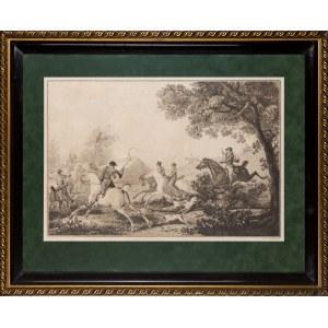 Antoine Charles Horace Vernet zwany Carlem (1758-1836), Philibert Louis Debucourt (1755-1832), Polowanie par force, przed 1900