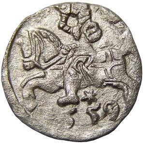 Zygmunt II August, denar 1559, Wilno, rycerz bez strzemienia
