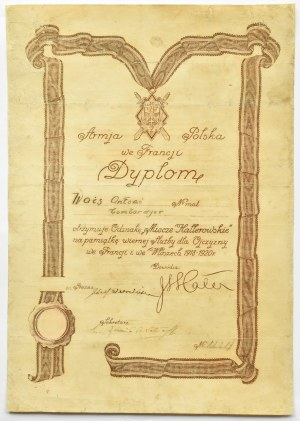 Polska, II RP, Odznaka pamiątkowa Armii gen. J. Hallera, tzw. Miecze Hallerowskie z dyplomem nadania