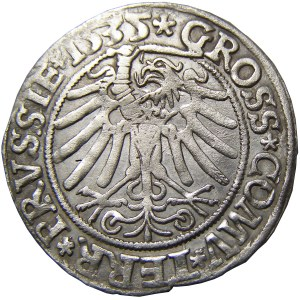 Zygmunt I Stary, grosz 1535, Toruń, popiersie w czepcu, PRVSSIE/PRVSSIE