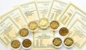 Niue, Szlak Bursztynowy, 9 x 5 dolarów, Warszawa, złoto, komplet z certyfikatami