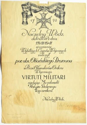 Polska, PSZ, Virtuti Militari (numerowany) z dyplomem podpisanym przez gen. Wł. Sikorskiego, fotografie, pamiętnik