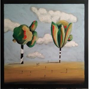 Filip Łoziński (ur. 1986), Kompozycja z drzewami i ludźmi, 2021