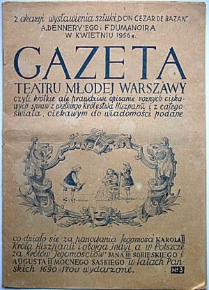 """GAZETA TEATRU MŁODEJ WARSZAWY z okazji wystawienia sztuki """"Don Cezar de Bazan"""" A. Denneryego i F..."""