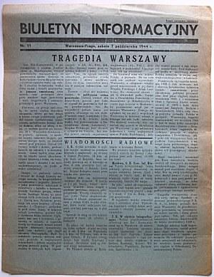 BIULETYN INFORMACYJNY. Warszawa - Praga, sobota 7 października 1944 r. nr 11. Format jw. s. 2...