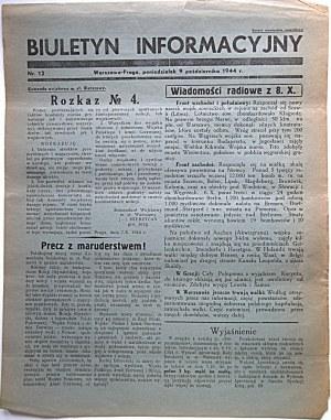 BIULETYN INFORMACYJNY. Warszawa - Praga, poniedziałek 9 października 1944 r. nr 12. Format jw. s. 2...