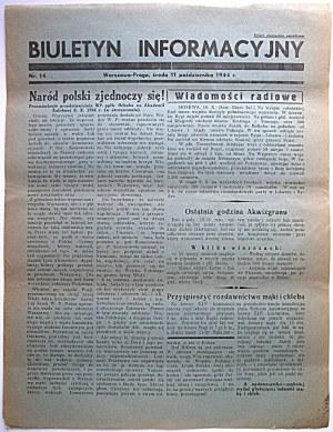 BIULETYN INFORMACYJNY. Warszawa - Praga, środa 11 października 1944 r. nr 14. Format jw. s. 2...