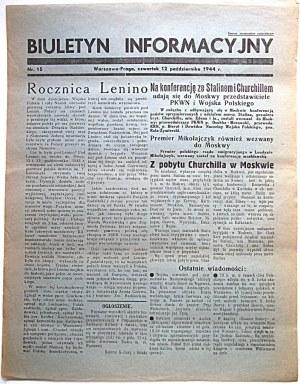 BIULETYNINFORMACYJNY. Warszawa - Praga, czwartek 12 października 1944 r. nr 15. Format jw. s. 2 ...
