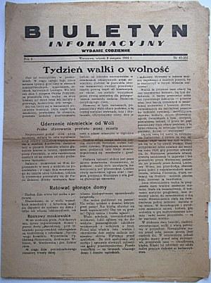 BIULETYN INFORMACYJNY. Wydanie codzienne. W-wa, wtorek 8 sierpnia 1944 r. Rok 6. nr 45 - 253. Format 23/31 cm...