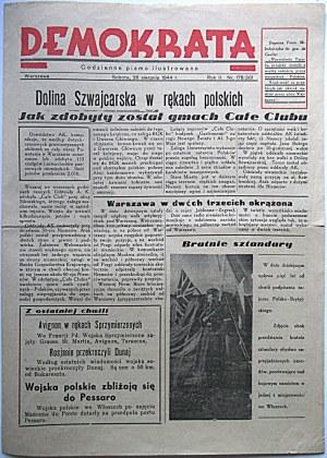 DEMOKRATA. Codzienne pismo ilustrowane. W-wa, sobota 26 sierpnia 1944 r. Rok II. Nr 178/301. Wydawca : Sp...