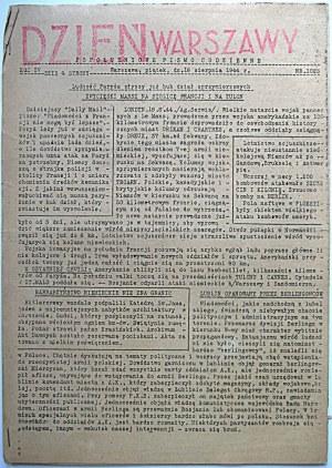 DZIEŃ WARSZAWY. Popołudniowe Pismo Codzienne. W-wa, piątek, dn. 18 sierpnia 1944 r. Rok IV. Nr 1023...