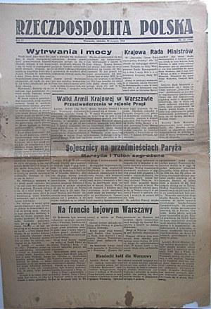 RZECZPOSPOLITA POLSKA. W-wa, niedziela 20 sierpnia 1944. Rok IV. Nr 31 (103). Format 31/46 cm. s. 2...