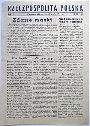 RZECZPOSPOLITA POLSKA. W-wa, wtorek 3 października 1944 r. Rok IV. Nr 76 (148).Format jak wyżej...