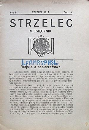 STRZELEC. Za styczeń 1917. Rok II. (powinien chyba być III-ci ?). Zeszyt 3. Format jw. s. 40. Brosz. wyd...