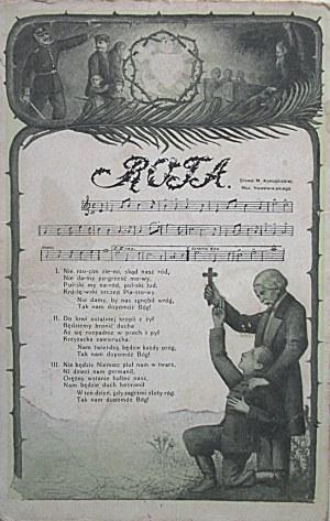 [POCZTÓWKA]. Pocztówka patriotyczna. Rota. Słowa M. Konopnickiej. Muzyka Nowowiejskiego. W-wa 1914...