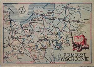 [POCZTÓWKA]. Pomorze Zachodnie. Na awersie mapka Pomorza Zachodniego, biały orzeł na czerwonej tarczy...