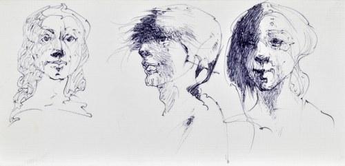 Roman BANASZEWSKI (1932-2021), Szkice popiersia kobiety w różnych ujęciach