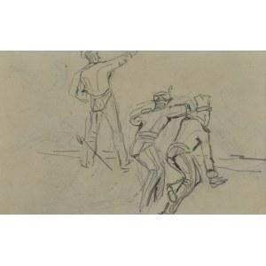 Stanisław KAMOCKI (1875-1944), Grupa żołnierzy w okopie motyw ze sceny batalistycznej, 1894(?)