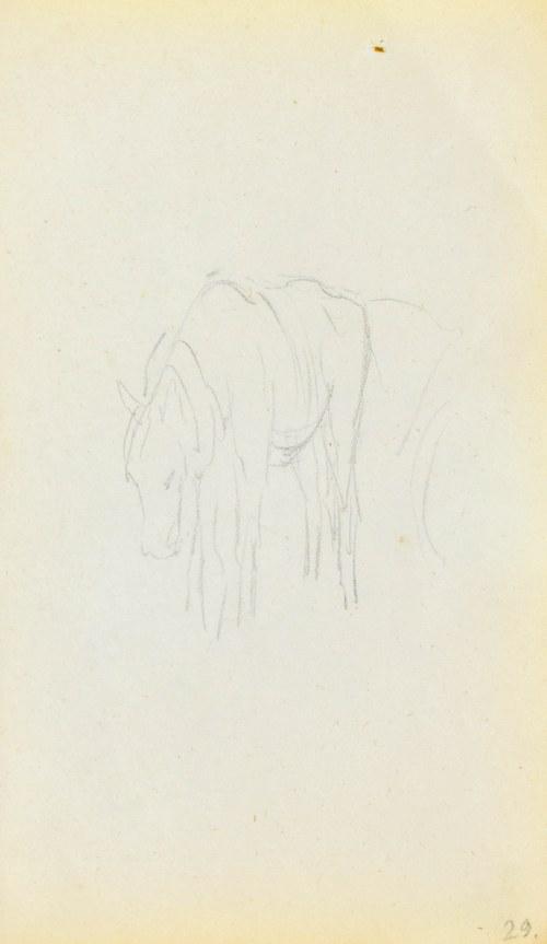 Jacek MALCZEWSKI (1854-1929), Koń w zaprzęgu ukazany z lewego trzy-czwarte z pochyloną głową