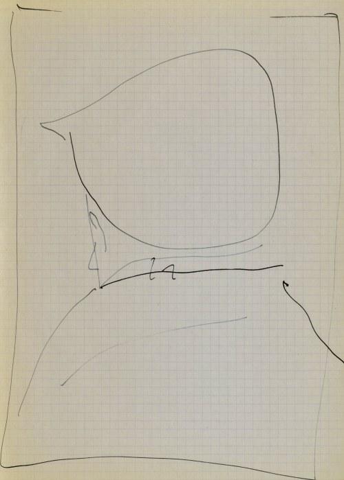 Jerzy PANEK (1918-2001), Popiersie mężczyzny w czapce tyłem - autoportret, 1963
