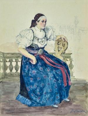 Józef PIENIĄŻEK (1888-1953), Kobieta na werandzie, 1937