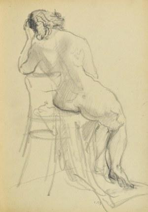 Kasper POCHWALSKI (1899-1971), Naga siedząca kobieta na krześle, ujęcie od tyłu, 1953