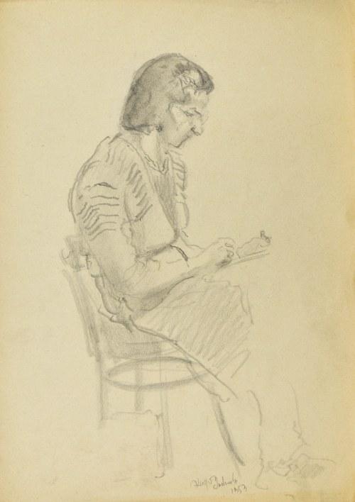 Kasper POCHWALSKI (1899-1971), Kobieta rysująca, 1953
