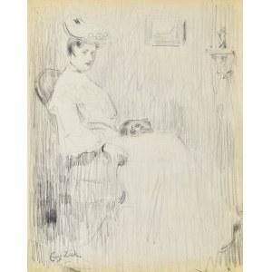 Eugeniusz ZAK (1887-1926), Kobieta siedząca w fotelu ze śpiącym kotem na kolanach
